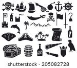 pirates icons set (pirate sabre, pirate skull with bandanna and bones, pirate hook, pirate triangle hat, old ship, spyglass, treasure chest, cannon, anchor, rudder, mountain, map, barrel, rum, island) - stock vector
