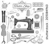 illustration of set of vintage... | Shutterstock .eps vector #205084963