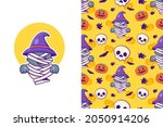 cute mummy cat and pumpkin... | Shutterstock .eps vector #2050914206