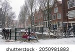 Snowy Amsterdam In Winter In...