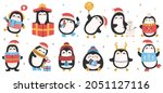 cute holiday penguins.... | Shutterstock . vector #2051127116