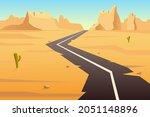 winding highway in desert. old... | Shutterstock .eps vector #2051148896