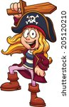 pirate girl. vector clip art... | Shutterstock .eps vector #205120210