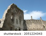 View on ruins of a medieval castle. Selective focus. High quality photo