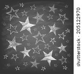 set of hand drawn stars on... | Shutterstock .eps vector #205122970