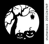 two jack o' lanterns near a... | Shutterstock .eps vector #2051261969