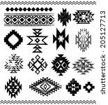hand   drawn look aztec  ... | Shutterstock .eps vector #205127713
