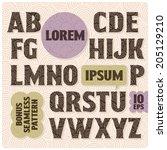 vintage font set with light... | Shutterstock .eps vector #205129210