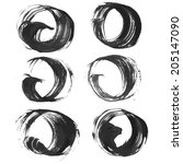 set of realistic round smears...   Shutterstock .eps vector #205147090