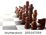 chess board with chess pieces... | Shutterstock . vector #205147354