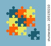 parts of multicolor puzzles.... | Shutterstock . vector #205150210