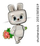 cute kid hare stretches out his ...   Shutterstock .eps vector #2051585819