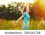 enjoyment. free happy woman... | Shutterstock . vector #205161718