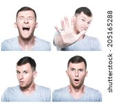 collage of scared  shocked... | Shutterstock . vector #205165288