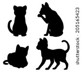 set of cat silhouettes | Shutterstock .eps vector #205165423