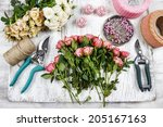 florist workplace  flowers and... | Shutterstock . vector #205167163