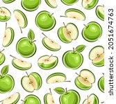 vector apple seamless pattern ... | Shutterstock .eps vector #2051674763