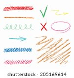 set of hand drawn elements ... | Shutterstock .eps vector #205169614