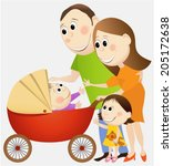 cartoon happy family | Shutterstock .eps vector #205172638