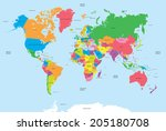 political map of the world... | Shutterstock .eps vector #205180708