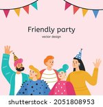 friends colleagues at a party... | Shutterstock .eps vector #2051808953