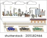 illustration of a factory with... | Shutterstock .eps vector #205182466