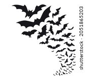 flying bat group. flock of bats | Shutterstock .eps vector #2051865203