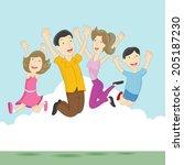 an image of playful jumping... | Shutterstock . vector #205187230