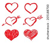 red vector hearts | Shutterstock .eps vector #205188700
