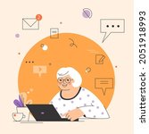 happy grandma with laptop ... | Shutterstock .eps vector #2051918993