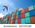 stack of cargo containers at... | Shutterstock . vector #205195180