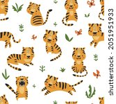 cute animal seamless pattern... | Shutterstock .eps vector #2051951933