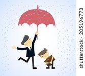 businessman under an umbrella...   Shutterstock .eps vector #205196773