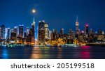 super moon above new york... | Shutterstock . vector #205199518