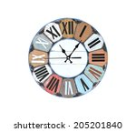 vintage clock on white... | Shutterstock . vector #205201840