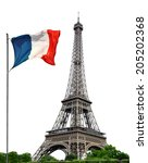 eiffel tower with french flag...   Shutterstock . vector #205202368