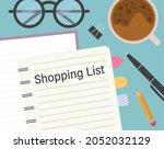 shopping list written in a... | Shutterstock .eps vector #2052032129