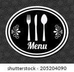 menu design over gray ... | Shutterstock .eps vector #205204090