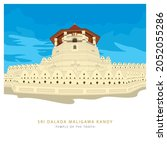 Sri Dalada Maligawa or the Temple of the Sacred Tooth Relic is a Buddhist temple in the city of Kandy, Sri Lanka. Vector illustration art.