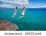 summer fun  friends cliff...   Shutterstock . vector #205221244