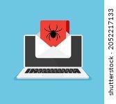 monitor and virus warning on it....   Shutterstock .eps vector #2052217133