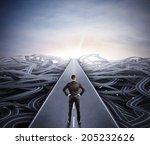 businessman walking the easy... | Shutterstock . vector #205232626