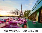 eiffel tower with spring leaves ... | Shutterstock . vector #205236748