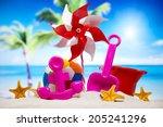 assortment of children's beach... | Shutterstock . vector #205241296