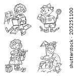 clip art. funny little children ... | Shutterstock .eps vector #205251100