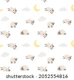 seamless sheep cartoon pattern. ... | Shutterstock .eps vector #2052554816