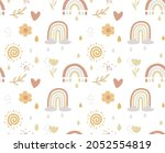 boho seamless rainbow pattern... | Shutterstock .eps vector #2052554819