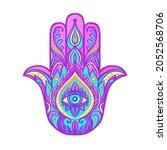 ornate hand drawn hamsa....   Shutterstock .eps vector #2052568706