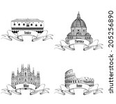 Famous italian city label set: Rome, Milan, Venice, Florence. Landmarks of Italy: Dome cathedral Milan, Doge's palace Venice, Cathedral Santa Maria del Fiore Florece, Colosseum Rome. Building sketch. - stock vector