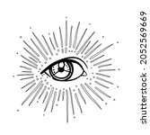 blackwork tattoo flash. eye of...   Shutterstock .eps vector #2052569669